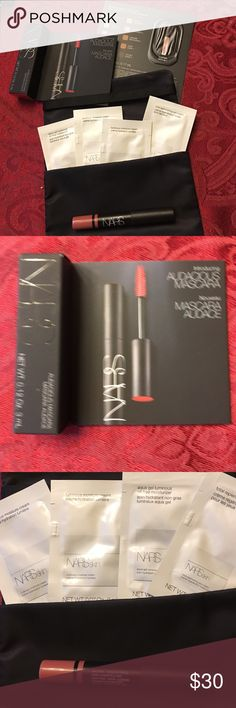 Nars Nars Sampler with Nars cosmetic pouch:     New Formula mascara, new concealer, moisturizer (3), eye cream, satin lip pencil in Rikigien and Nars cosmetic pouch. Sephora Makeup