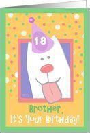 18th Birthday, Brother, Happy Dog, Party Hat Card by Greeting Card Universe. $3.00. 5 x 7 inch premium quality folded paper greeting card. Birthday cards & photo Birthday cards from Greeting Card Universe will bring a smile to your loved ones' face. Whether for one person or the whole family, a paper card will make their birthday memorable this year. Let Greeting Card Universe help you find the best birthday card this year. This paper card includes the following themes: 18th bir...