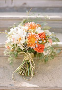 Beautiful coral, green and white bouquet!