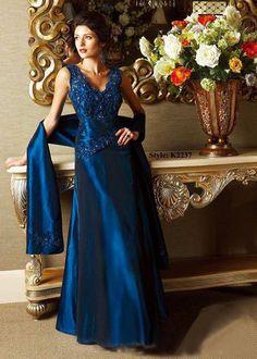 V-Neck Applique Beads Working Blue Satin Floor Length Mother Of Brides Dress