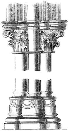Capital and base, columns at Canterbury.