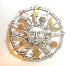 Sun Moon Stars Planets pin vintage