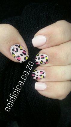 China Glaze Diva Bride and Sinful Colors neons leopard print mani