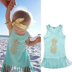 3e1e4ccdc35628 Nice Pineapple Toddler Kids Baby Girl Dress Sleeveless Party Tassel Dresst  Clothes - $8.91 - Buy
