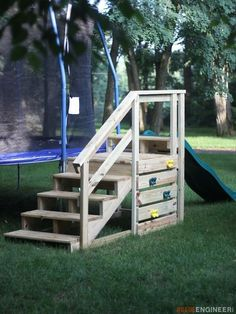 Trampoline Stairs with Slide - Free and Easy DIY Plans Kids Outdoor Play, Kids Play Area, Backyard For Kids, Backyard Projects, Outdoor Fun, Outdoor Projects, Outdoor Play Areas, Modern Backyard, Backyard Play Areas