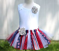 Patriotic 4th of July Sewn Fabric Tutu Outfit with by AddieKatShop.