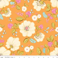 Calliope in orange is a white floral print on an orange background that boasts bold blooms and aqua and pink accents. The Calliope collection is by Cyndi Walker for Stitch Studios and RIley Blake.
