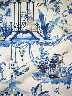 Harrison Howard – Chinoiserie Watercolor Artist – Exclusive Fabric Collection - Traditional Blue Chinoiserie original art printed on cotton fine line twill. Perfect for window treatments, furniture upholstery, bedding, pillow covers or headboards. Blue And White Fabric, Blue Fabric, Fabric Art, Chinoiserie Fabric, Chinoiserie Chic, Tropical Fabric, Living Room Redo, Drapery Panels, Chair Fabric