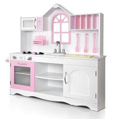Wooden Childs Kitchen W/ 4pc Accessories Children Kids Toddlers ...