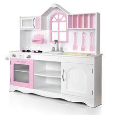 Wooden Childs Kitchen Children Kids Toddlers Pretend Play Set White Pink