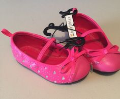 Girls Shoes Hot Pink Size 6 Toddler With Silver Design Healthtex Summer Shoes #Healthtex #MaryJanes