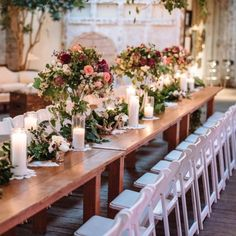 Our classic white folding chairs were the perfect pair with the overflowing floral centrepieces at this Seattle WithinSodo wedding