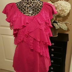 Layers of Lace Stretchy pink blouse with lace and ruffles. No Boundaries Tops Blouses