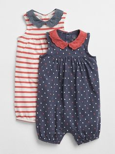 Eyelet Collar Shorty One-Piece (2-Pack). The stars and stripes pattern on these adorable rompers make them perfect and comfy for 4th of July celebrations! #ad