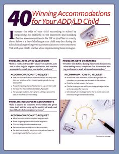 40 school accommodations for children with ADHD or learning disabilities. IEP coming up! 504 Plan, Adhd Strategies, Adhd And Autism, Sensory Issues, School Social Work, School Psychology, Learning Disabilities, School Counselor, Speech And Language