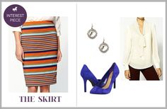 Interview outfit with a statement skirt, love stripes!