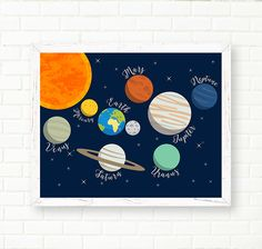 Baby Nursery Prints, Space Nursery, Nursery Decor, Astronaut, Solar System, Planets, Universe, Astronomy, Galaxy, Kids Wall Art, 11x14 PRINT by LittleMonde on Etsy https://www.etsy.com/listing/236090285/baby-nursery-prints-space-nursery
