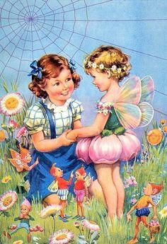 Vintage Illustrations Vintage Fairies in the Garden with Girl Craft Fabric Block - Great for Embroidery, Pillows Fairy Dust, Fairy Land, Fairy Tales, Mermaid Fairy, Cicely Mary Barker, Vintage Fairies, Love Fairy, Flower Fairies, Magical Creatures
