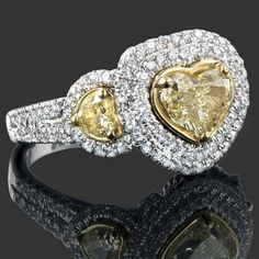2.72 TCW Fancy Yellow/VS2 Heart Shaped Diamond Halo Engagement Ring 18k Two Tone Gold