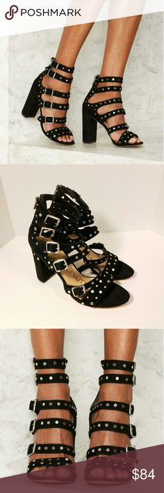 """New Sam Edelman York Studded Gladiator Heels NEW without Tags Sam Edelman York black studded heels sandals (Sold at Nasty Gal). Size 10.5. Suede heels with studded detailing. Adjustable buckles. Blocked heels. Back zip closure. Heel height 4"""". Retailed for $175 + Tax!  New without Tags (no shoe box). Store display and has signs of wear on sole and heels from customers trying out heels. Please note silver marker on sole from store.  No Trades/No PP/No Merc/No Modeling   REASONABLE OFFERS…"""