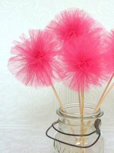tulle pom party wands