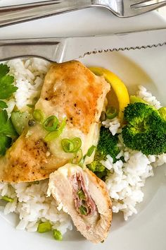 A delish dinner idea! Prosciutto and Provolone Stuffed Chicken with Lemon Wine Sauce is fancy enough to serve to company, but easy enough to make on a weeknight. A delicious pan sauce of wine, lemon and capers makes the dish extra special. And as an added bonus, it is ready in about 30 minutes. #dinnerrecipe