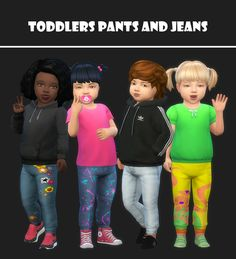 "Toddlers pants & jeans sets at maimouth "" sims 4 updat Toddler Jeans, Toddler Outfits, Kids Outfits, Sims 4 Toddler, Toddler Boys, The Sims 4 Bebes, Sims 4 Cc Shoes, Workshop, Sims 4 Cc Skin"