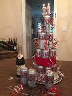 I made this stacked Coors beer cake for my nephew's 21st birthday.