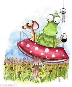 Field of dreams - Original-watercolor-painting-art-illustration-mouse-dragon-crow-spider-mushroom