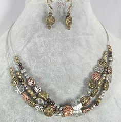 3 Strand Tri Tone Metal Bead Necklace Set | eBay