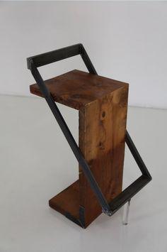 Zorro wood and metal design stool. Welded Furniture, Concrete Furniture, Iron Furniture, Steel Furniture, Classic Furniture, Industrial Furniture, Furniture Projects, Home Furniture, Furniture Design