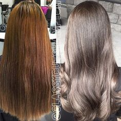 Goodbye Brassy copper hello beautiful smokey ash brown for our lovely new client Nikki! absolutely ...