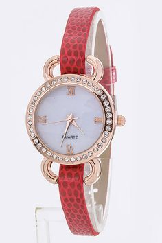 This cute and elegant faux snakeskin watch come in 5 amazing colors. Features an opalescent face and 9 size options.