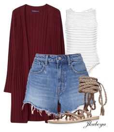 """Burgundy"" by craze92 ❤ liked on Polyvore featuring Violeta by Mango, New Look, T By Alexander Wang, Ancient Greek Sandals, cutecardigan and springlayers"