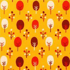 gelber Baum Wald Kord Stoff von Cosmo aus Japan 1