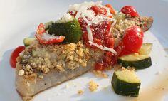italian stuffed fish parmesan with zucchini salsa