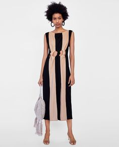 f4c9c208 Image 1 of TWO-TONE DRESS WITH KNOT DETAIL from Zara Best Summer Dresses,