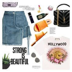 """""""in hollywood"""" by little-curly-juli ❤ liked on Polyvore featuring Gucci, Sandy Liang, Yves Saint Laurent, Christian Dior, BeckSöndergaard, MANGO, Tom Ford, Guerlain, It Cosmetics and Lux-Art Silks"""