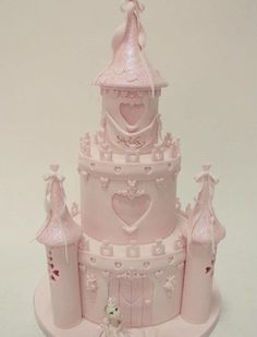 Pastel Pink Princess Castle Birthday Cake