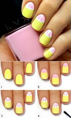 diseños de uñas paso a paso de color amarillo con rosa