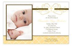 Yellow Cross Pendant Photo Card : Baptism Christening Invitations Neutral Invitations Baby Photo Invitations