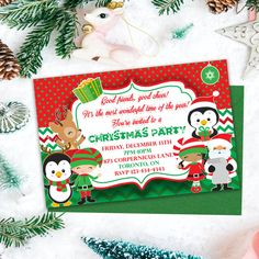 Kids Christmas Invitations Party Invitations by PrintYourInvite Printable Invitations, Invites, Party Invitations, Kids Christmas, Xmas, Christmas Invitations, Good Cheer, Wonderful Time, Holiday Parties