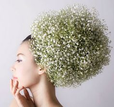Hair Ornaments using Flowers and Vegetables by Japanese artist Takaya.