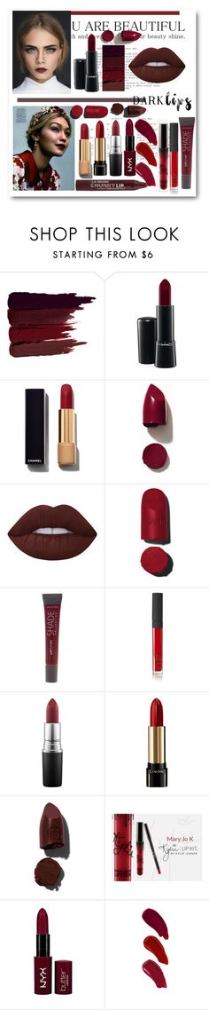 """""""Dark lips by"""" by itgirlcarlota ❤ liked on Polyvore featuring beauty, Serge Lutens, MAC Cosmetics, Chanel, NARS Cosmetics, Lime Crime, SHADE Collection, Lancôme, Lipstick Queen and NYX"""