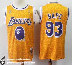 NBA amp Bape Mitchell  amp  Ness  93 Swingman Lakers Jersey All Stitched  Lebron James 3120ade72