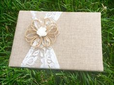 """Wedding Guest book must have for any rustic wedding! This is for one rustic chic guest book measuring 9"""" long and 6.5"""" tall, This also contains beautifully lined pages with gold trim. An excellent and"""