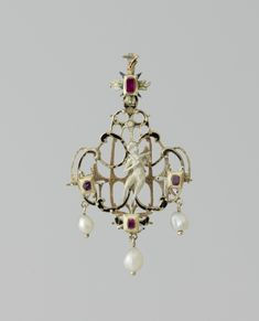 Pendant with Amor in a niche, Netherlands, c. 1550 - c . 1560, gold, enamel, pearls and precious stones, h 8.7 cm. BK-NM-11109. Rijksmuseum, Amsterdam.
