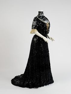 Sequined black silk evening dress with sequined black lace chemisette, by Henriette Favre, French, ca. 1903.