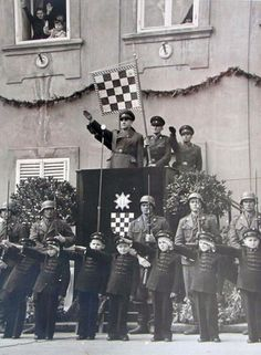 The Poglavnik of Fascist Croatia Ante Pavelić gives salute to members and soldiers of the Croatian Revolutionary Movement, the Ustaše and its youth wing during a national rally held in Zagreb. Gypsy Men, Operation Barbarossa, World History, Military History, World War Two, Ww2, Vintage Photos, Cool Pictures, Abstract Art