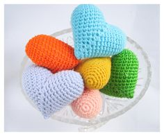 Knitted 6 hearts for home decoration by 4erkio via DaWanda